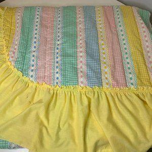 Vintage blanket coverlet bedspread multi colored y